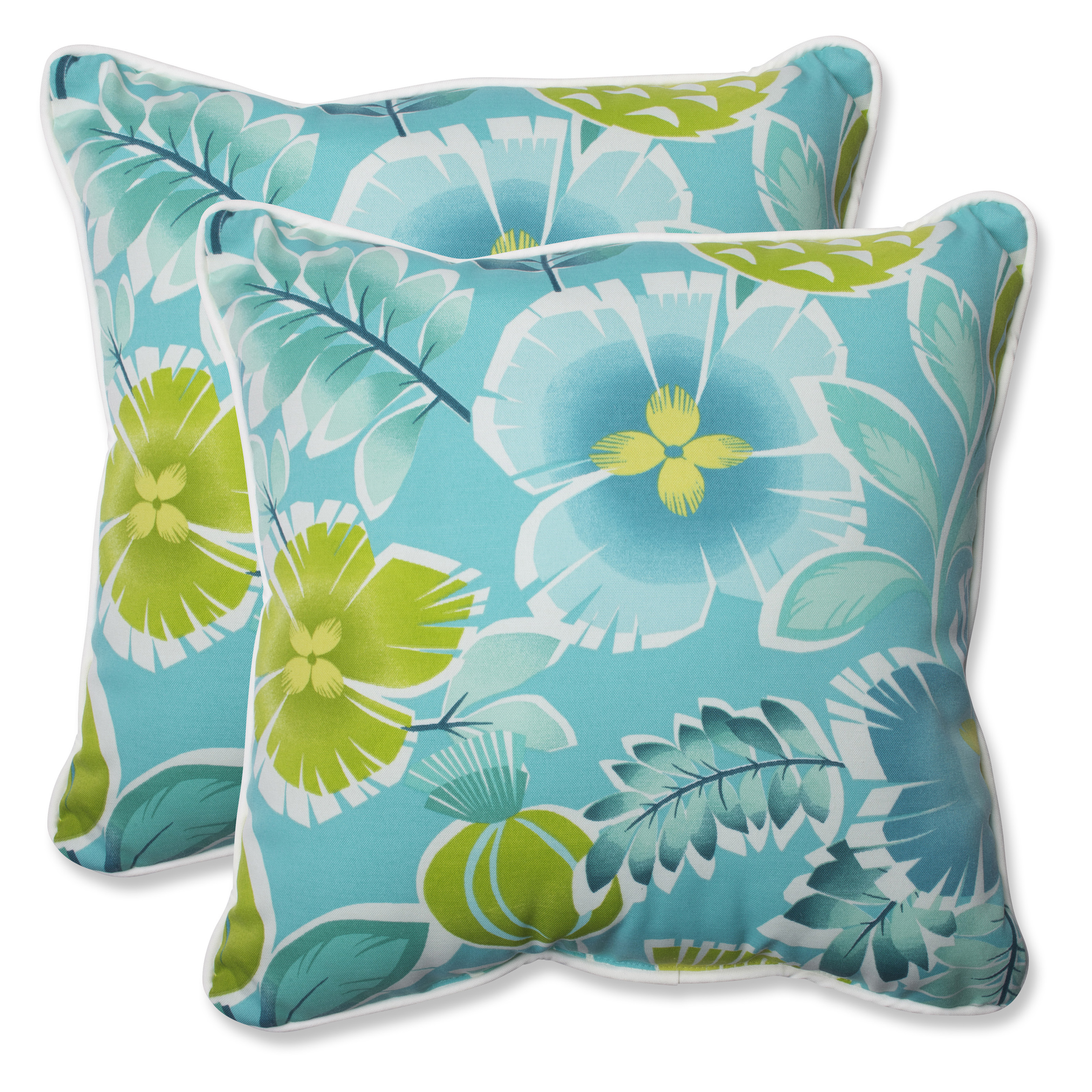 Turquoise Decorative Pillow Set : Pillow Perfect Calypso Turquoise Square Outdoor Throw Pillow - Set of 2 - Outdoor Pillows at ...