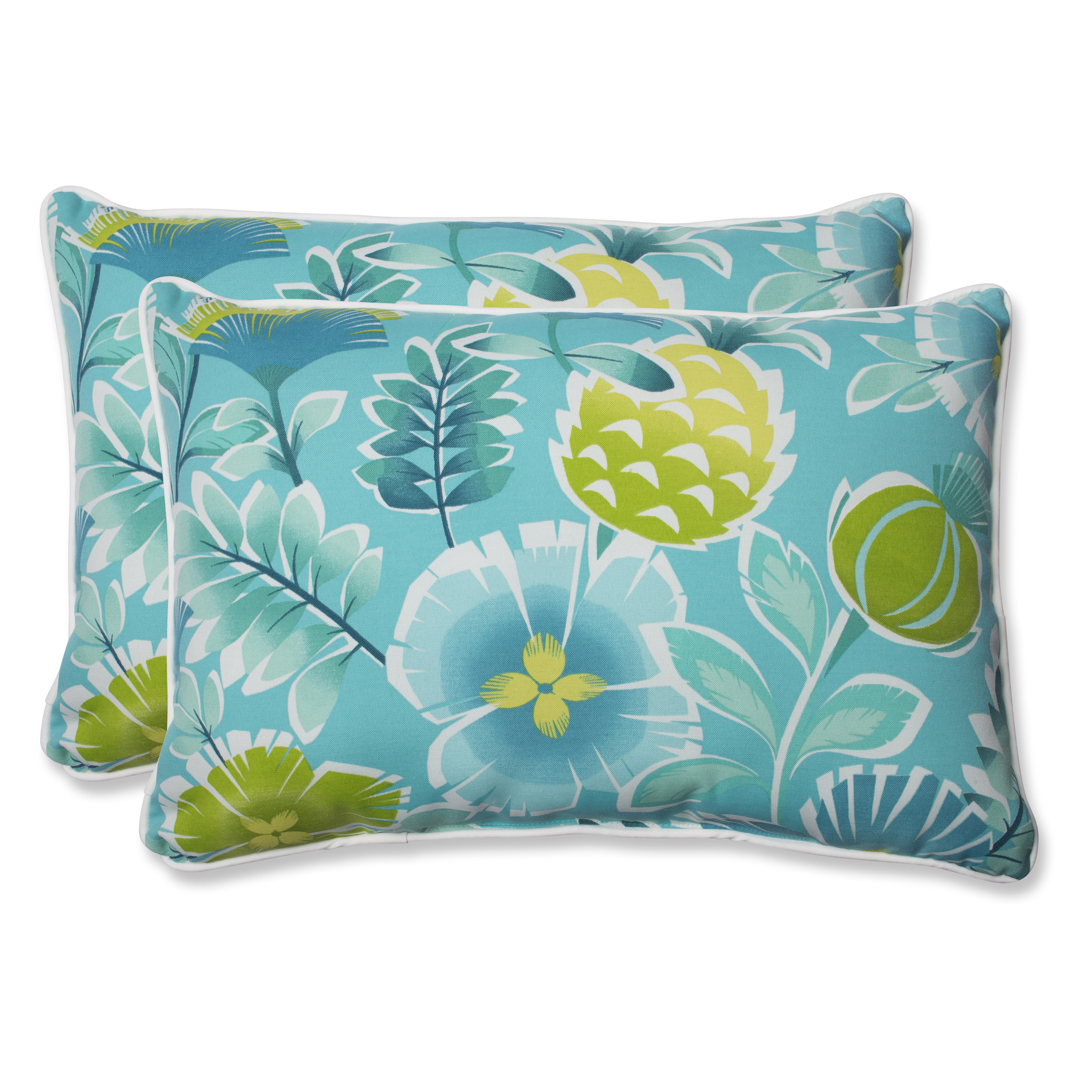 Turquoise Decorative Pillow Set : Pillow Perfect Calypso Turquoise Over-sized Outdoor Rectangle Throw Pillow - Set of 2 - Outdoor ...