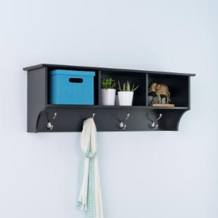 Prepac Sonoma Black Entryway Cubbie Shelf and Coat Rack