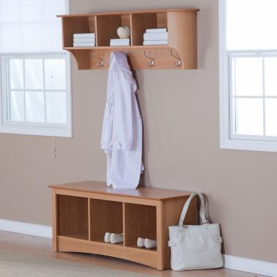 Prepac Sonoma Maple Triple Cubby Bench & Coat Rack Set
