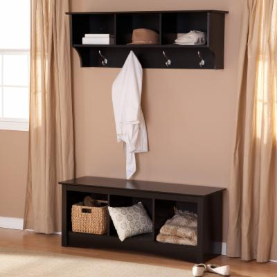 Prepac Sonoma Black Triple Cubby Bench & Coat Rack Set