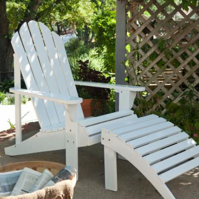 Coral Coast Adirondack Chair and Ottoman Set - White