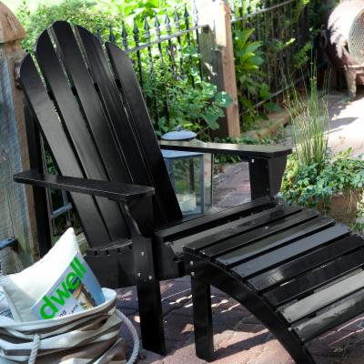 Coral Coast Adirondack Chair and Ottoman Set - Black