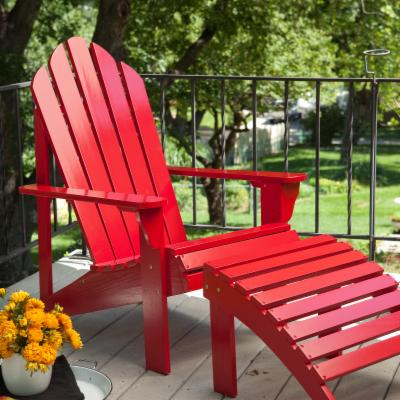Coral Coast Adirondack Chair and Ottoman Set - Red