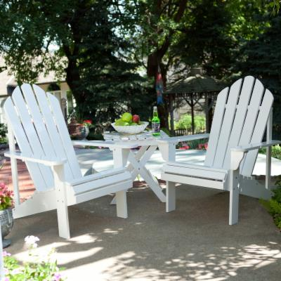 Coral Coast Adirondack Chair Set with FREE Side Table - White