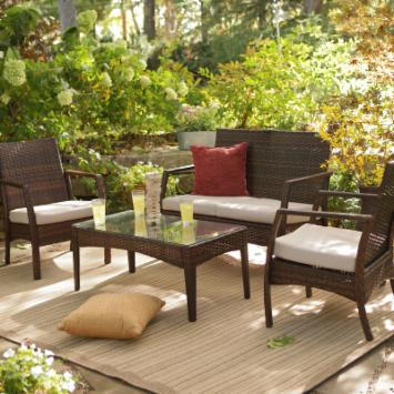  Parkville All-Weather Wicker Conversation Set - Seats 4