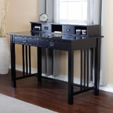  Mission Writing Desk with Hutch - Black