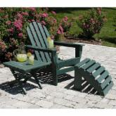 POLYWOOD® Recycled Plastic Classic Adirondack Chair, Table & Ottoman - 3pc Set