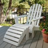 POLYWOOD® Curveback Adirondack Chair & Ottoman - 2pc Set