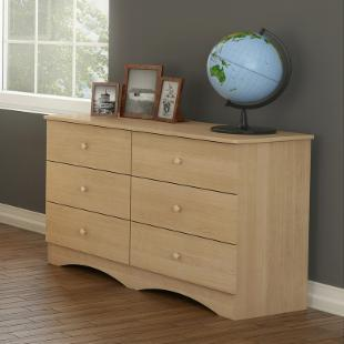 Alegria Natural Maple 6-Drawer Double Dresser with Mirror Set