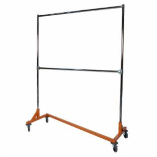 Medium Duty Steel 300 lb. Capacity Z Rolling Rack with 2 Hangrails