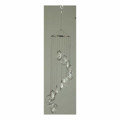 Smoke Round Ring with Octagon Crystals Wind Chime