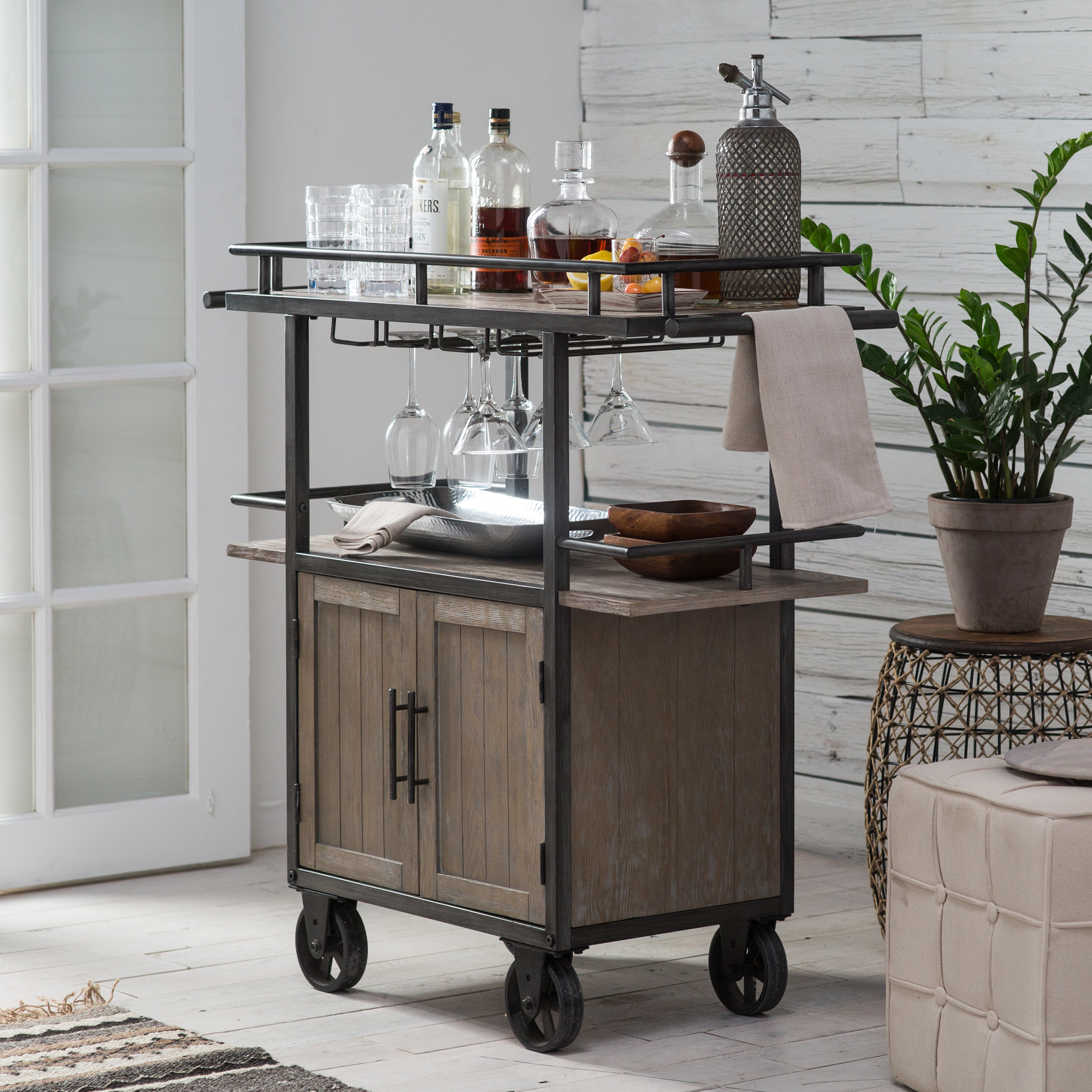 Industrial Kitchen Cart Bar Cart Serving Cart: Belham Living Jamestown Industrial Bar Cart