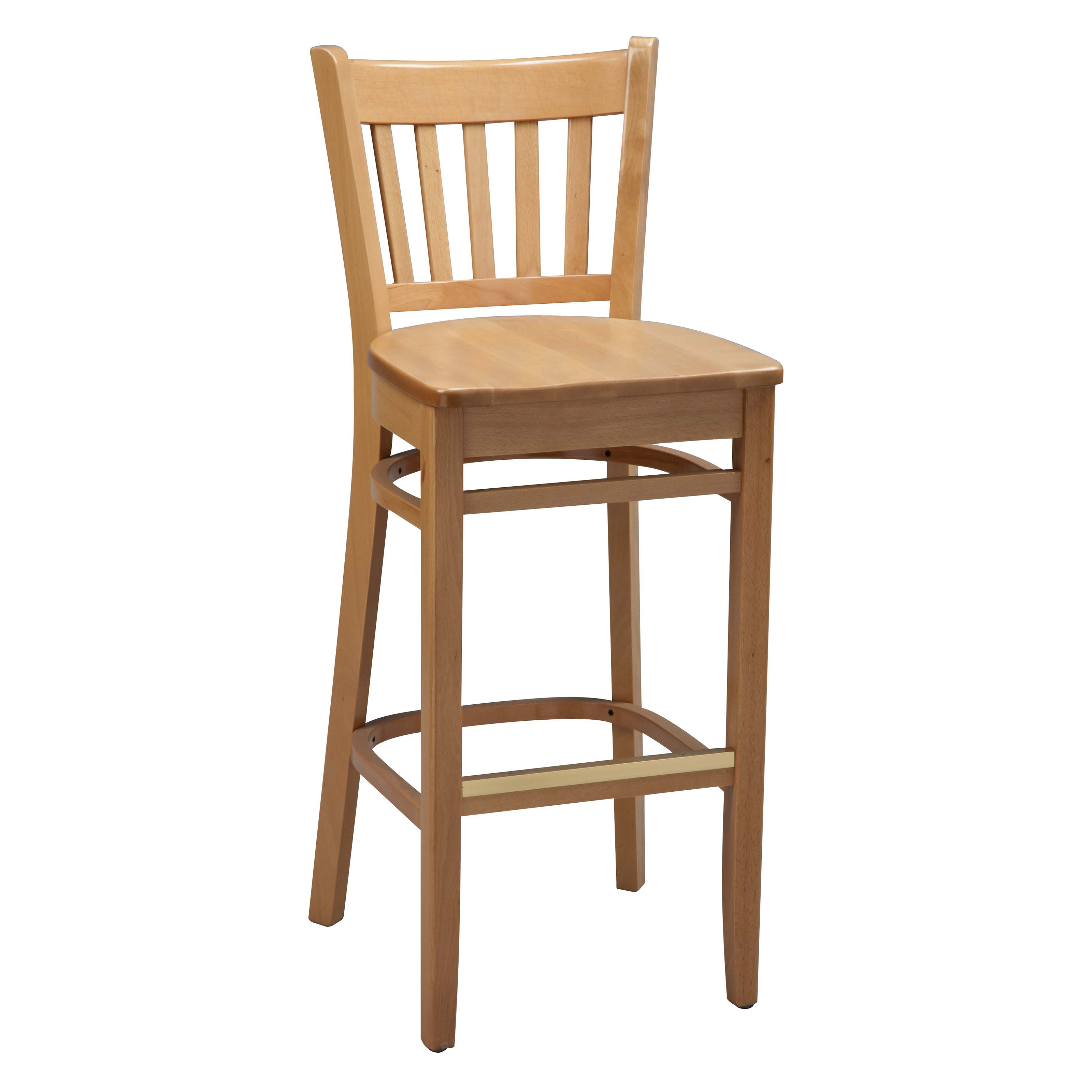 Regal Beechwood 30 In Vertical Slat Bar Stool With Wood