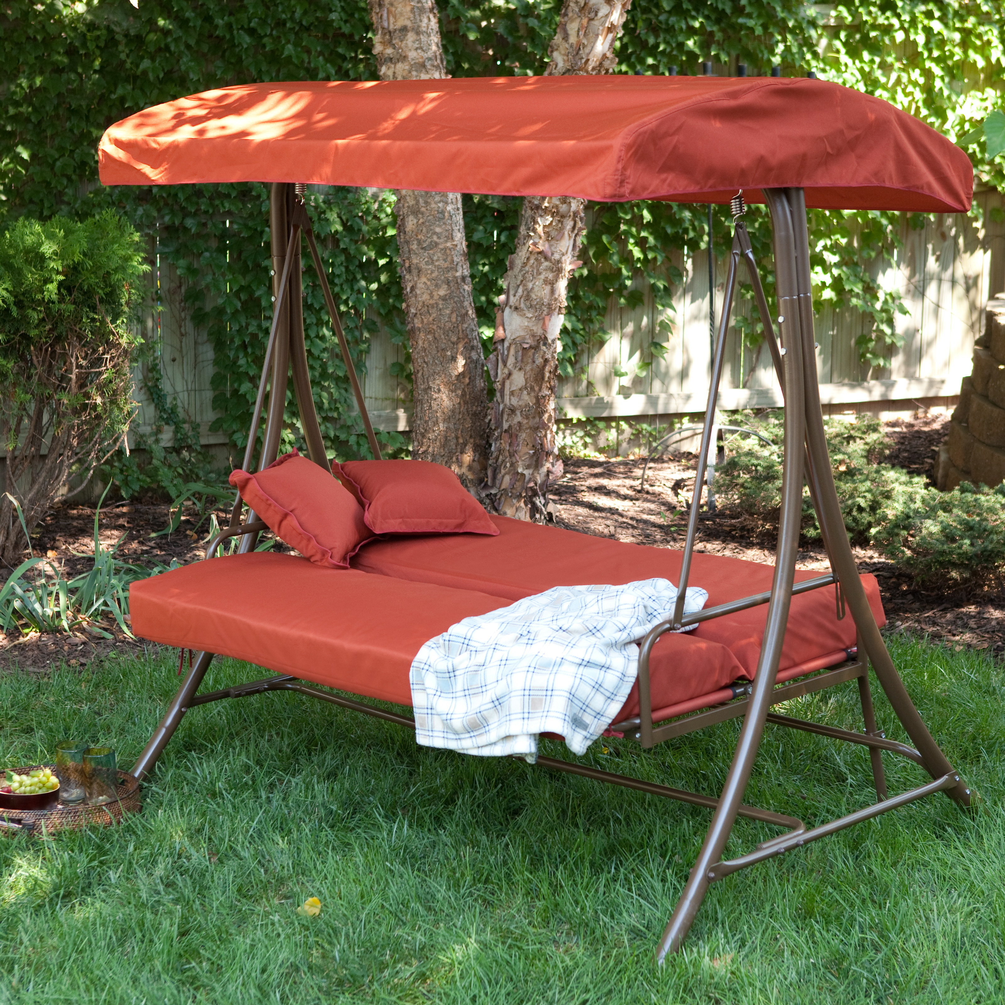 Person Canopy Swing Bed  Terra Cotta  Porch Swings at Hayneedle