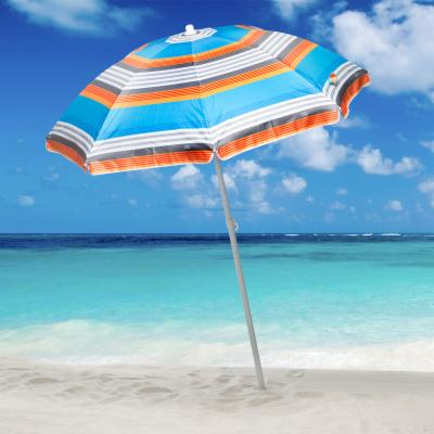 Rio Aquatic Blue Stripe 6 ft. Sun Blocking Beach Umbrella