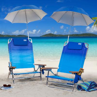 Rio Ombre Big Kahuna Beach Chair and Clamp-On Umbrella Package