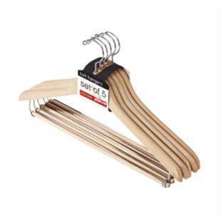 Richards Homewares Imperial Natural Suit Hangers with Lock Bar - Set of 10