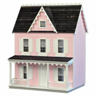 Real Good Toys Ready-to-Decorate Vermont Farmhouse Dollhouse - Pink