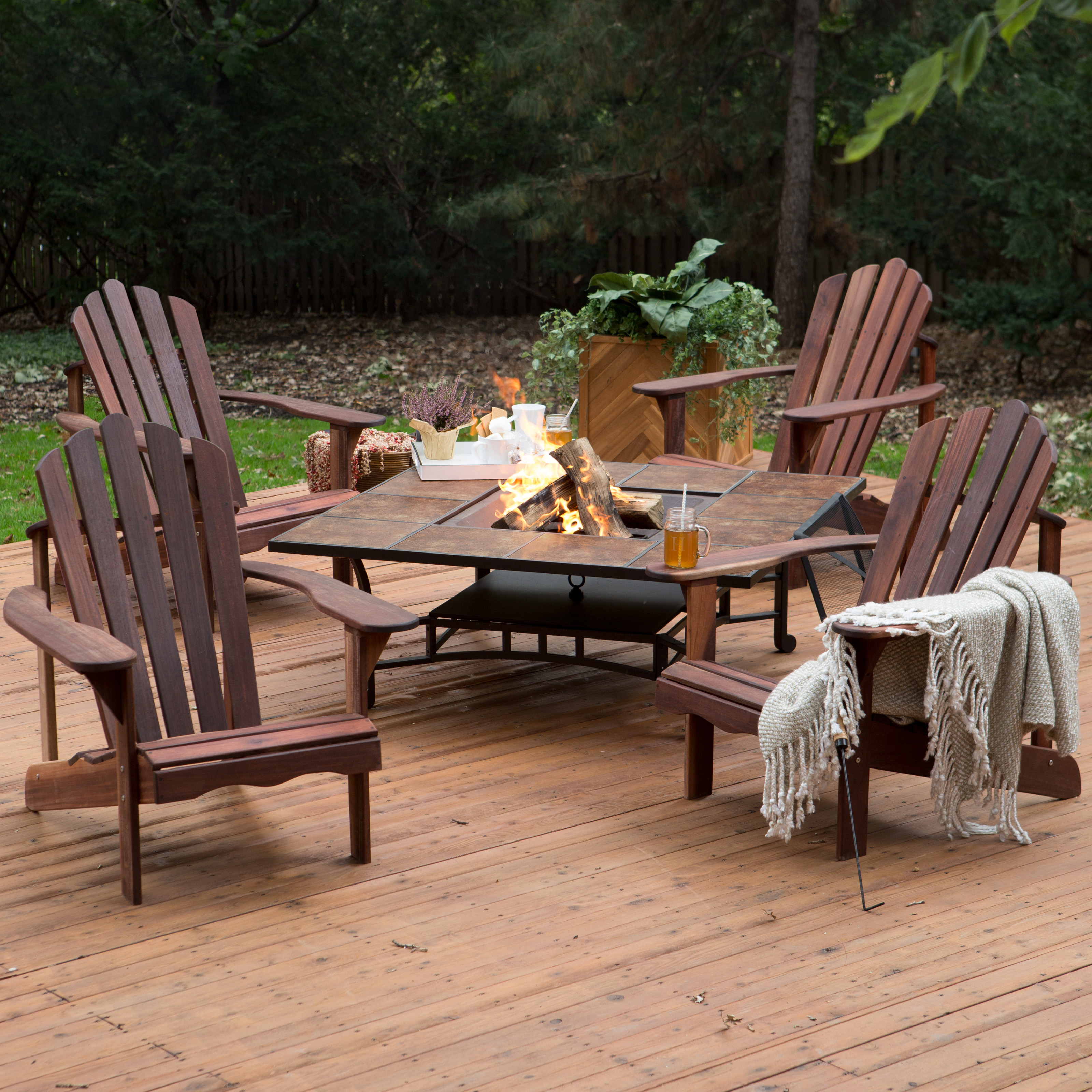 Belham Living Richmond Deluxe Adirondack Chair Fire Pit Chat Set Fire Pit P