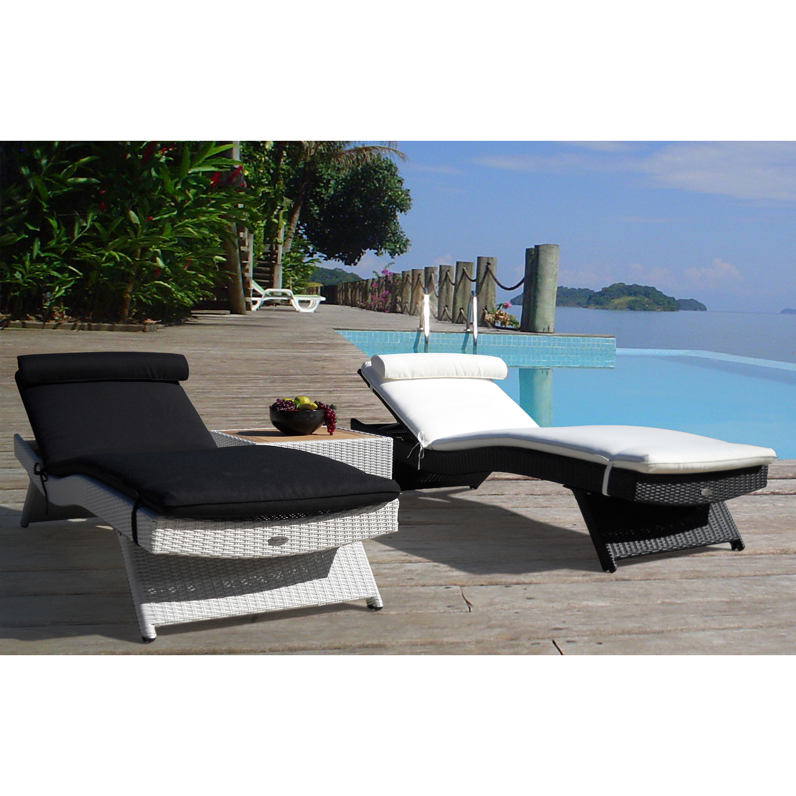 Royal teak all weather wicker wave sun bed chaise lounge for All weather chaise lounge