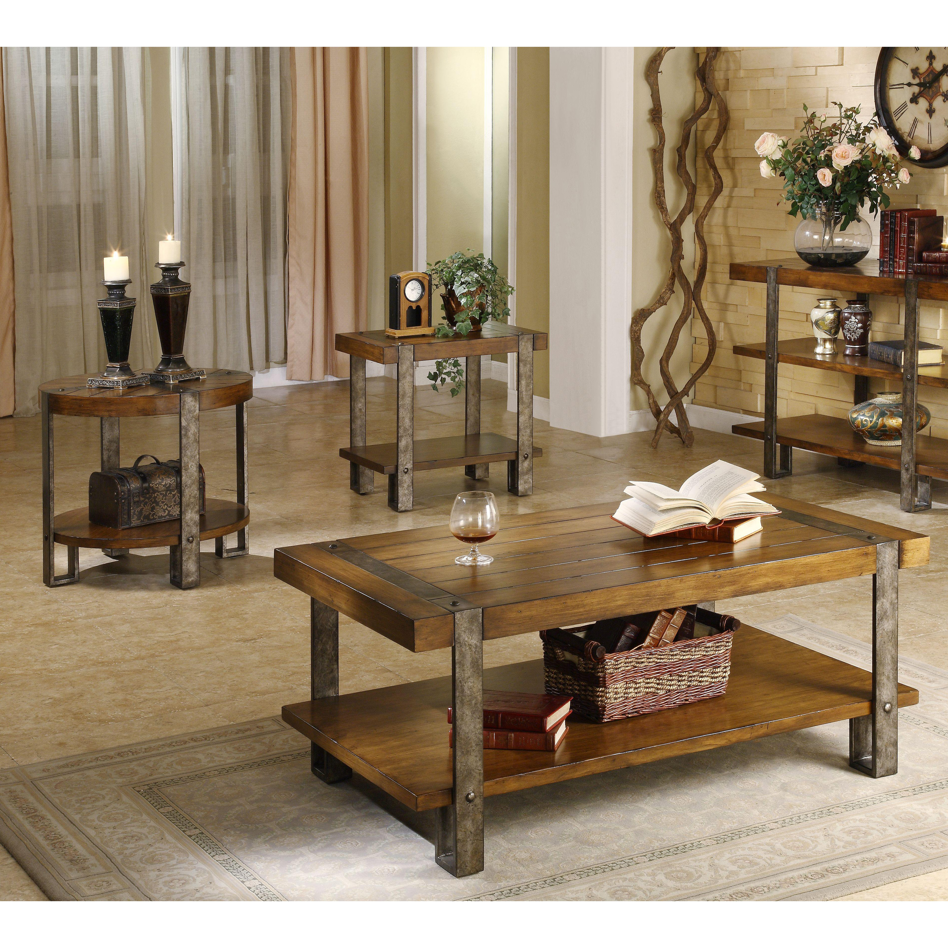 Tables Sets: Riverside Sierra Rectangular 3 Piece Coffee Table Set