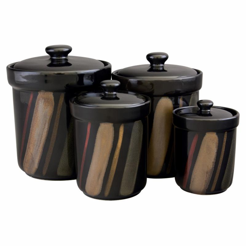 Sango Avanti Black Canisters, Set of 4