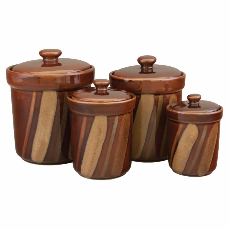 Sango Avanti Brown Canisters, Set of 4