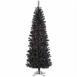 Pre-lit Clear Light 4.5 ft. Pencil Pine Black Christmas Tree