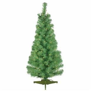 Pre-lit Green Light 4.5 ft. Pencil Pine Green Christmas Tree