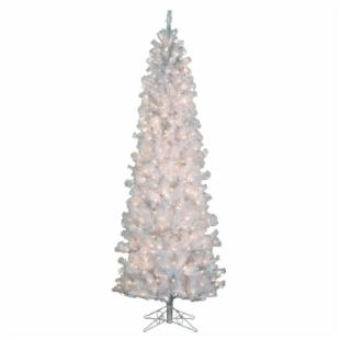 Pre-lit Clear 4.5 ft. Pencil Pine White Christmas Tree