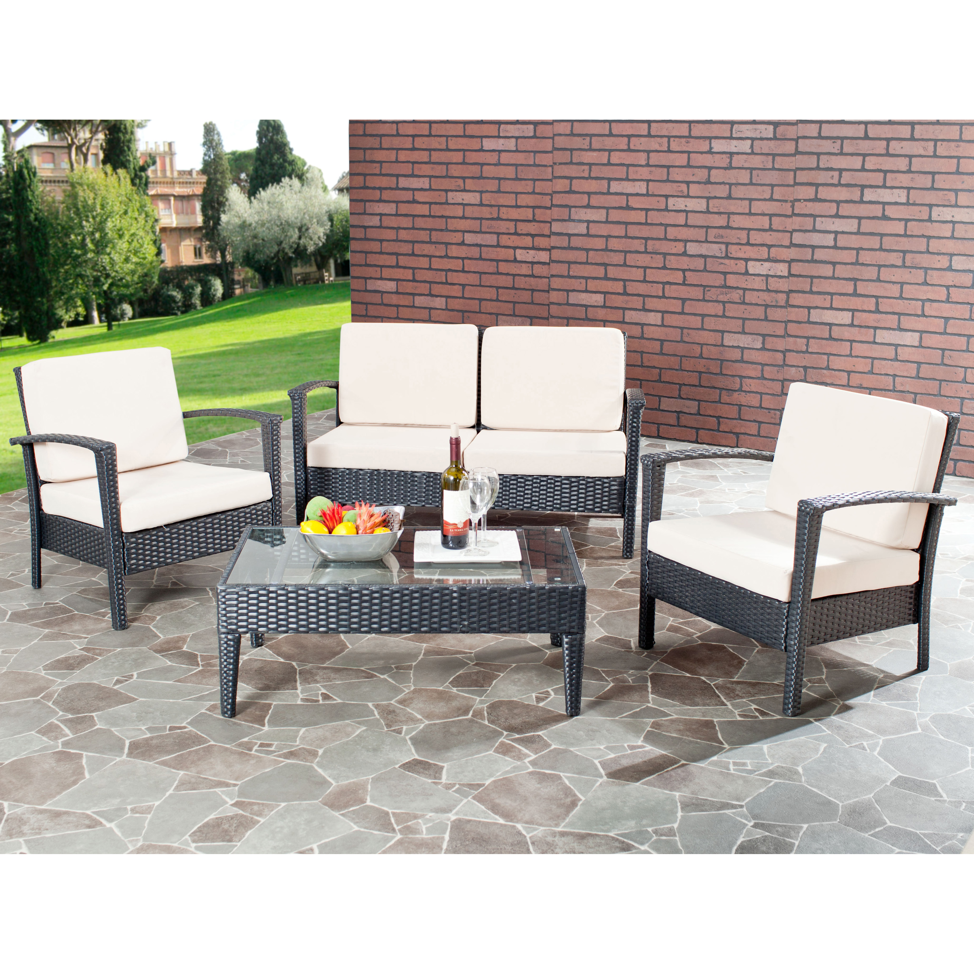 safavieh watson all weather wicker conversation set conversation patio sets at hayneedle. Black Bedroom Furniture Sets. Home Design Ideas