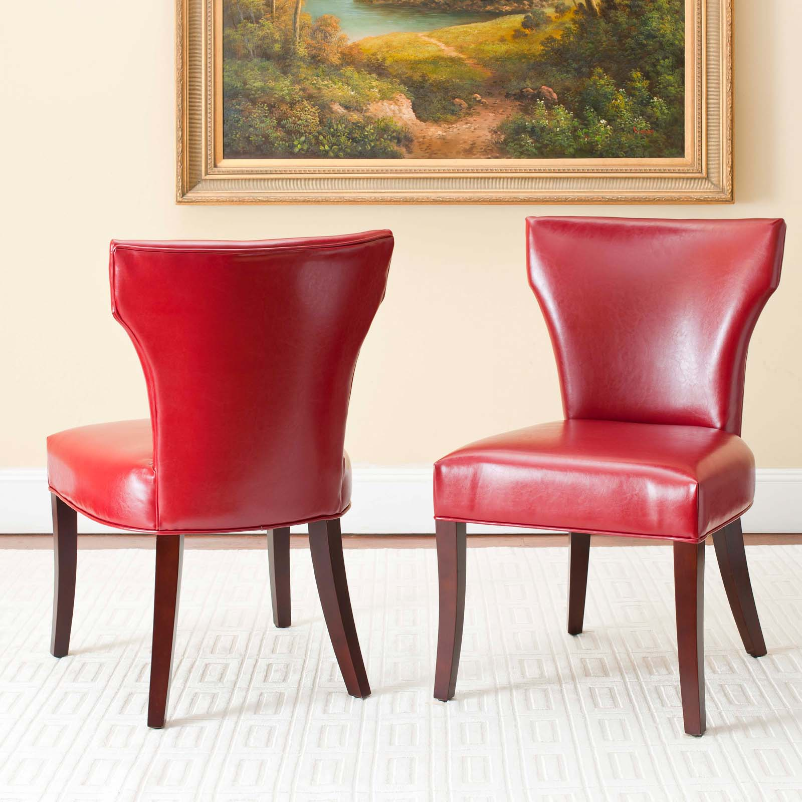 Red Dining Room Furniture: Safavieh Mckenna Red Leather Dining Side Chairs