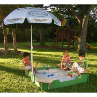 SandLock 5 x 5-Foot Plastic Sandbox