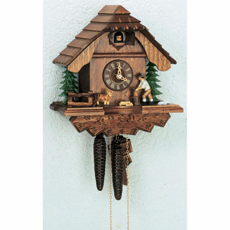 Schneider 10 Inch Animated Wood-Chopper and Dog Black Forest Cuckoo Clock