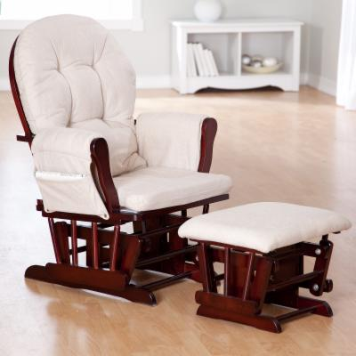 Storkcraft Bowback Glider and Ottoman Set - Cherry/Beige