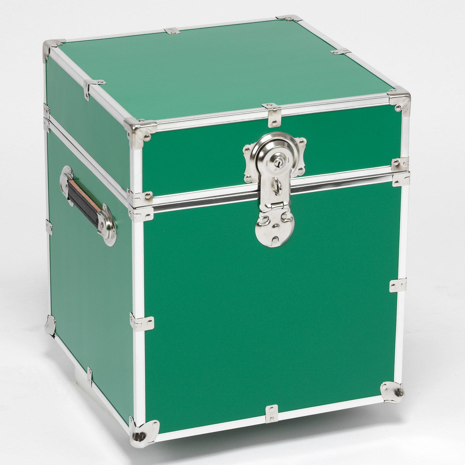 Green Steel Cube with Optional Cedar Lining and Wheels   Storage Trunks
