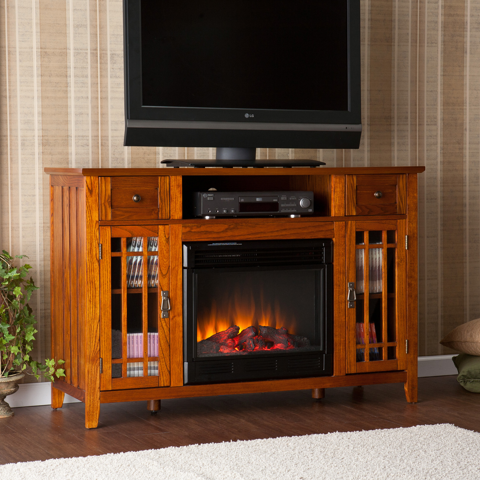 Straton Electric Media Fireplace Mission Oak At Hayneedle