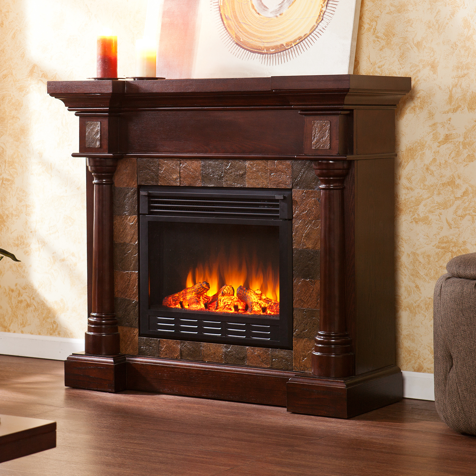Southern Enterprises Carrington Espresso Convertible Electric Fireplace Fireplaces At Hayneedle