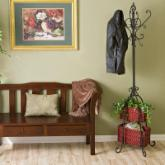 Southern Enterprises Iron Standing Coat Rack with Rattan Storage Baskets