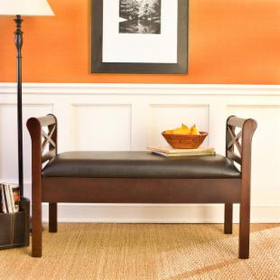 SEI Warrenton Espresso Storage Bench with Black Faux Leather Seat