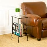  Southern Enterprises Decorative Black Metal Magazine End Table
