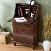  Southern Enterprises Hand Carved Drop Front File Desk - Walnut