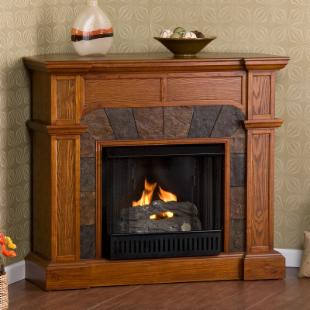 Southern Enterprises Cartwright Mission Oak Convertible Slate Gel Fuel Fireplace