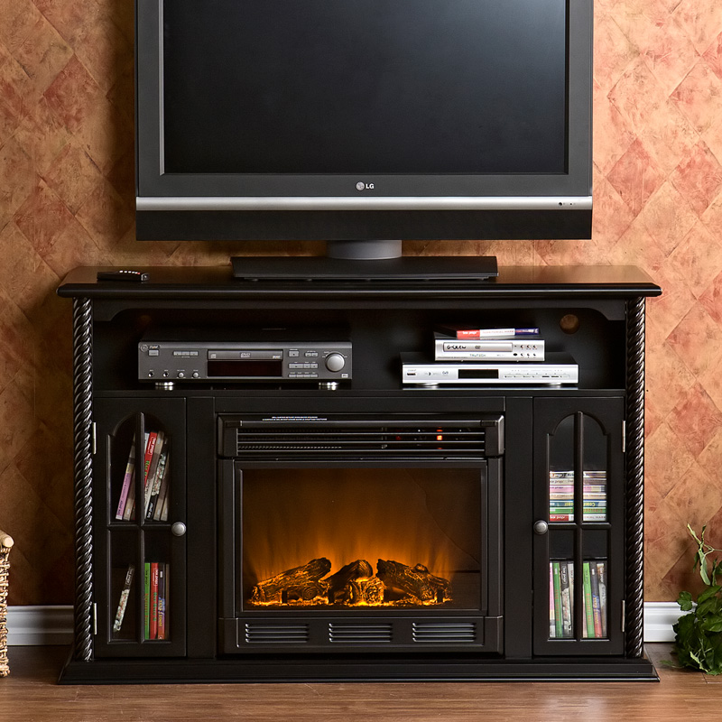Southern Enterprises Tillman Black Entertainment Center Electric Fireplace At Hayneedle