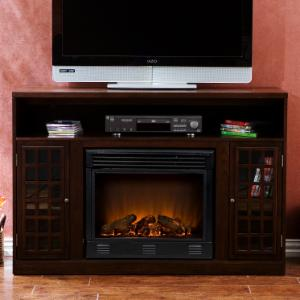 Southern Enterprises Narita Espresso Media Console with Electric Fireplace