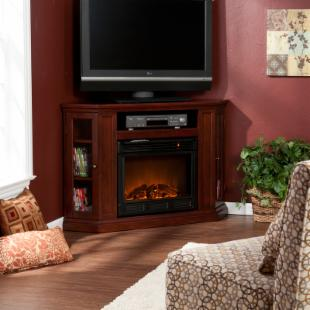 Claremont Convertible Cherry Electric Fireplace Media Console