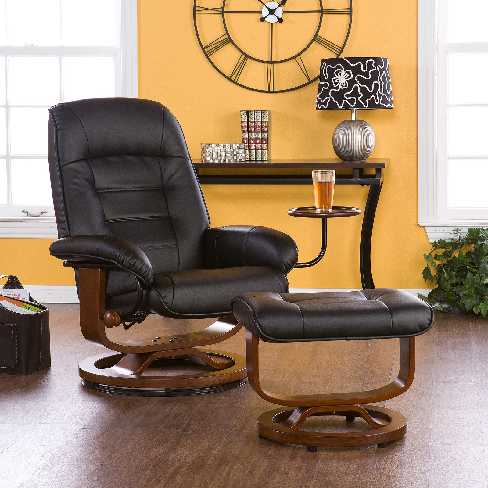 southern enterprises leather swivel recliner with ottoman recliners at hayneedle - Black Leather Recliner Chair