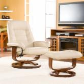 Taupe Leather Recliner and Ottoman 28 in.