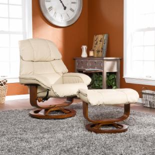 Taupe Leather Recliner and Ottoman 17 in.